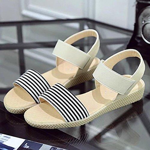 Bescita Frauen Streifen Sommer Böhmen süße Sandalen Clip Toe Sandalen Badeschuhe Beige