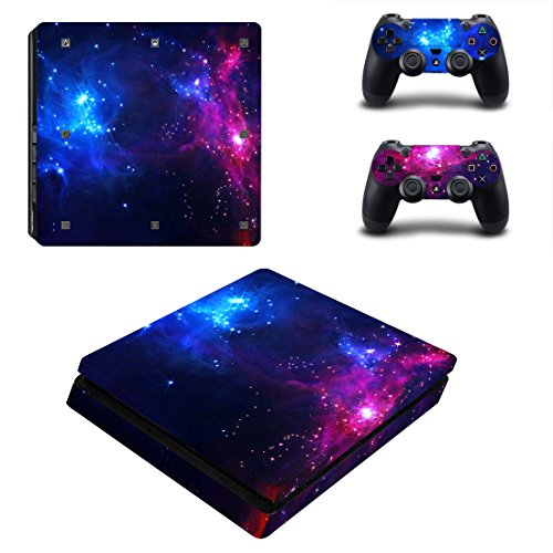 Morbuy Ps4 Slim Skin Consola Design Foils Vinyl Pegatina Sticker And 2 Playstation 4 Slim Dualshock Controlador Skins Set (Double Starry)