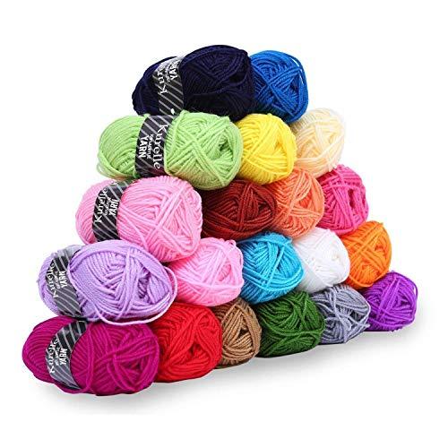 Kurelle Stickgarn Buntes Strick Garnknäuel Packung, Acryl Garn für Stricken, verschiedene Farben Wolle Set Baumwolle Perfekt für jedes Häkel und Strickprojekt - 20 Farbe 25g pro Farbe - 40 Meter -