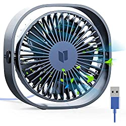 RATEL Ventilateur de table USB, 12,5 cm Mini ventilateur de bureau Utiliser avec un câble de 1,2 mètres, Portable et personnel pour la maison et le bureau Calme et puissant,Bleu foncé