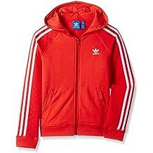 Adidas Enhanced Felpa con cappuccio, in pile, da ragazza, Bambina, Enhanced Fleece, tomato/white, 164