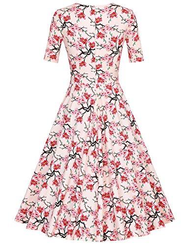 MUXXN Damen 1950er Business oder Cocktailparty Kleid Apricot Cherry