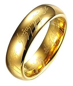 """Anello originale de """"Il Signore degli anelli"""", in tungsteno, con incisioni laser all'interno/esterno, in sfarzosa custodia di metallo, Placcato oro (O)"""