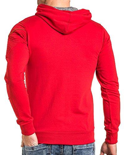 BLZ jeans - Gilet sweat homme rouge à capuche Rouge