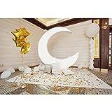 YongFoto 2,2x1,5m Poliestere compleanno fondali fotografici Big White Moon Cuscini Palloncini coriandoli dorati Sfondo foto Studio fotografico Fondale foto Decorazione del Partito