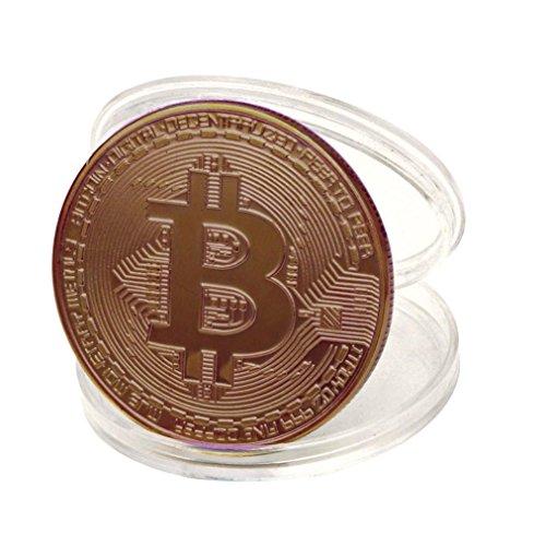 HLHN 10x Bronze überzogene Bitcoin Münze Sammler Geschenk BTC Münze Kunst Sammlung physikalische (Bronze, 10 Pcs) -