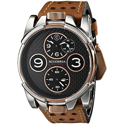 CT Scuderia 2 TEMPI Men's 44mm Brown Calfskin Synthetic sapphire Watch CS40301