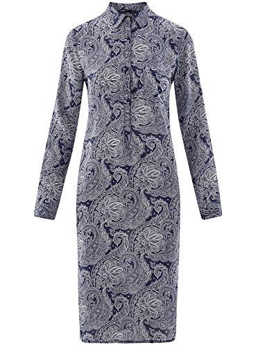 oodji Collection Damen Druckkleid aus Viskose Blau (7912E)