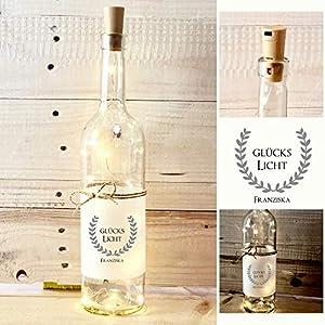 Glückslicht, origineller Glücksbringer – Persönliches Geschenk mit Namen zum Geburtstag, zur Prüfung oder als Genesungsgeschenk, personalisiertes Flaschenlicht