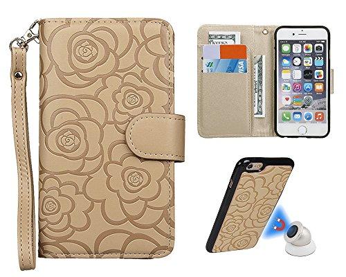 """Hülle für iPhone 6 6s, xhorizon FM8 [Aktualisiert] 2 in 1 Top Notch Rosa Amboss Magnetisch Car MountPhone Halter Kompatibel Folio Leder Brieftasche Case für iPhone 6 6S [4.7""""] mit einem 9H Ausgeglic Beige"""