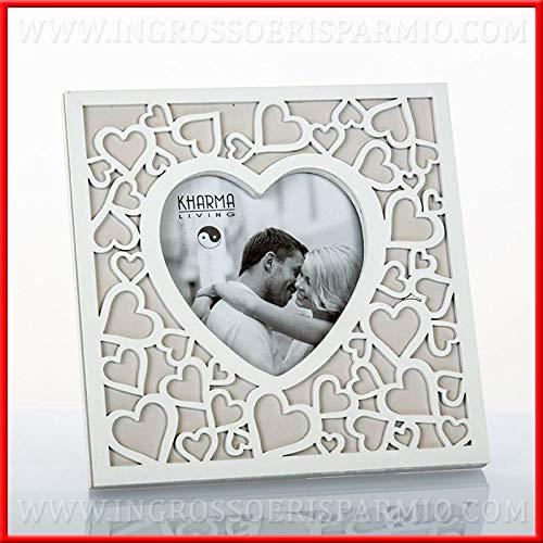 Ingrosso e risparmio portafoto da tavolo con cuore centrale in legno bianco e grigio con cuori idee bomboniere romantiche matrimonio anniversario (senza confezionamento)