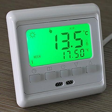 Bargain World Pulsante LCD a pavimento programmabile camera di riscaldamento a pavimento termostato di regolazione (7 Giorni Programma Termostato)