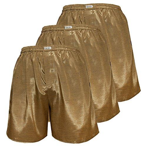 Herren Komfort Schlaf Unterwäsche Thai Silk Boxer Shorts (XXL, Gold)