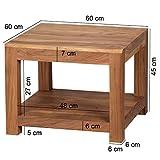 Wohnling Couchtisch Massiv-Holz Akazie 60 x 60 cm Wohnzimmer-Tisch Design Landhaus-Stil Beistelltisch Natur-Produkt Wohnzimmermöbel Unikat modern Massivholzmöbel Echtholz rechteckig dunkel-braun