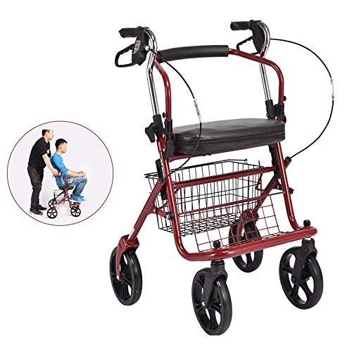 Mhxzkhl Plegable Carrito De Compras De Ancianos, Cuatro Ruedas Empujable Sentado Luz Sentado Caminante Carrito De Compras De Edad, Rojo, Azul, Carga 100 Kg,Red