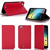Wiko Lenny 2 Tasche Leder Hülle rot Cover mit Stand -