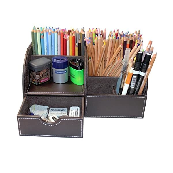 Modern Faux Leather Desk Organiser Tidy Pen Remote Control Holder Storage Box