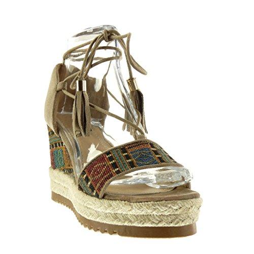Angkorly Damen Schuhe Sandalen Mule - Plateauschuhe - Offen - Bestickt - Fransen - Seil Keilabsatz High Heel 9 cm Khaki