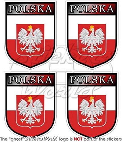 Pologne Polonais Polska Shield 50 mm (5,1 cm) bumper-helmet en vinyle autocollants, Stickers x4