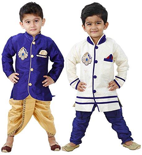 Stylokids Silk Kurta Pyjama and Kurta Dhoti Indowestern Combo Set...