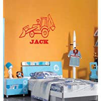 Wall Art Desire® JCB Digger & Personalised Name Print Wall Stickers Decal Transfer Any Name