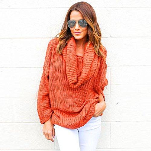 donne oversize pipistrello cappotto, FEITONG cardigan sciolto manica maglione lavorato a maglia top outwear (Caffè, Free Size) arancio
