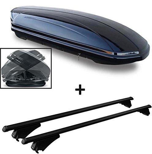 VDP Dachbox schwarz glänzend MAA 580 Duo Auto Dachkoffer beidseitig aufklappbar 580 Liter abschließbar + Alu-Relingträger Dachgepäckträger für aufliegende Reling im Set für Hyundai Tucson TL ab 2015
