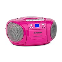 Auna BeeBerry Boom Box Ghettoplaster �?? CD-Player �?? FM Radio Tuner �?? MP3 �?? Tape Player �?? AUX �?? Low Dead Weight �?? Optional Battery Operation �?? Ultracompact �?? Foldable Carrying Handle �?? LCD Display with Blue Background Lighting �?? Pink