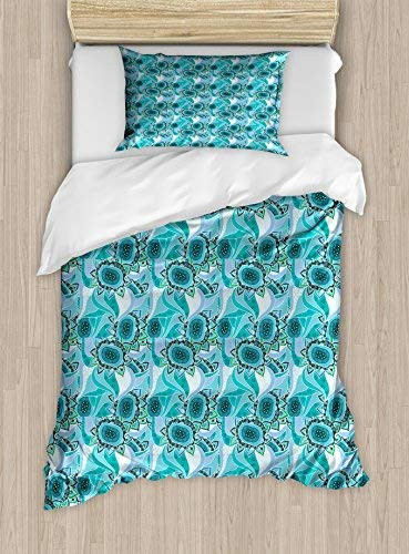 Lunarable Abstract Twin Size Duvet Cover Set, Flowers with Curly Motifs and Artful Details Flourishing Nature in Modern Design, Decorative 2 Piece Bedding Set with 1 Pillow Sham, Multicolor