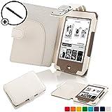 Forefront Cases® Tolino Page Shell Hülle Schutzhülle Tasche Bumper Folio Smart Case Cover Stand mit LED Licht - Leicht mit Rundum-Geräteschutz inkl. Eingabestift (Weiß)