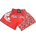 Extiff Short Boxe Thai Qualité Professionnelle Muay Thai Arts Martiaux Kick Boxing Sport de Combat Rouge et Blanc (L)
