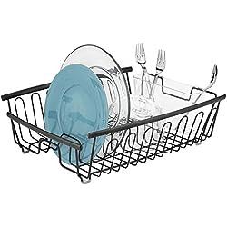 mDesign support à vaisselle en métal - panier égouttoir inoxydable pour assiettes et plats - égouttoir design avec porte-couverts à 11 fentes pour la cuisine et le plan de travail - noir-mat