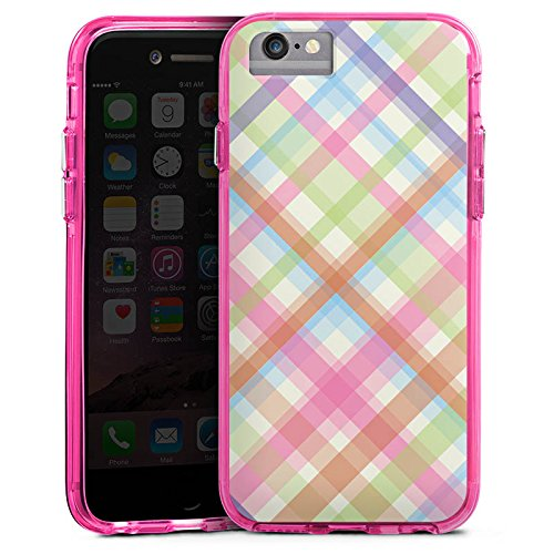 Apple iPhone 7 Bumper Hülle Bumper Case Glitzer Hülle Pastell Karo Colourful Bunt Bumper Case transparent pink