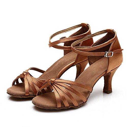 HROYL Damen Tanzschuhe/Latin Dance Schuhe Satin Ballsaal Modell-D7-217 7CM Braun