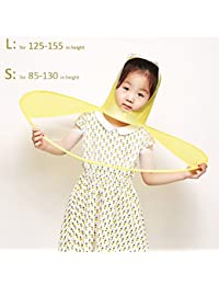 Toim creativo cabeza paraguas, Ultra luz capa de los niños chubasquero transparente plegable lluvia Gear para estudiantes, amarillo