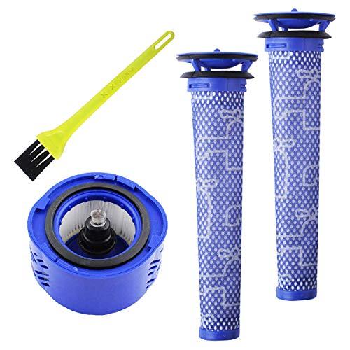 Poweka DC62 Ersatzteile Filter für Dyson V6 96566101 96674101 Schnurlose Tier-Staubsauger - 965661-01 Vorfilter Vormotorfilter und 966741-01 HEPA-Nachfilter mit Reinigungsbürste -