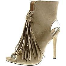 Angkorly - Zapatillas de Moda Botines stiletto Peep-Toe sexy mujer fleco pompom Talón Tacón de aguja alto 12.5 CM - Beige