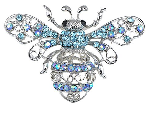 Alilang Silberton Aqua Light Blue Crystal Strass Queen Bee ()