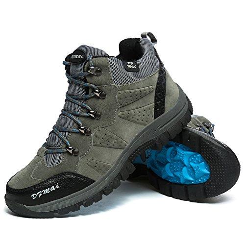 GOMNEAR Herren Wanderstiefel Trail Mountain Schuhe Walking Travel Camping Outdoor Boots Sneaker Plus Size Verfügbar Grau