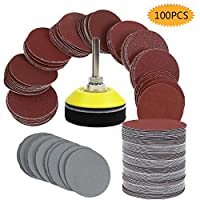 """Sanding Discs Pads, bluesees 100pcs 2 inch Sanding Discs Sheets Pads Kit for Drill Grinder Rotary Tools with Backer Plate 1/4"""" Shank Includes 80,100,180,240,600,800,1000,1200,2000,3000 Grit Sandpaper"""