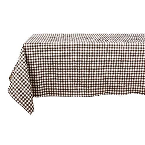 Hemotrade Leinen, maschinenwaschbar, Alltagsgitter-Küchentischdecke für Dinnerpartys, Sommer- und Picknick im Freien - 140 x 220 cm, Pink (Color : ()