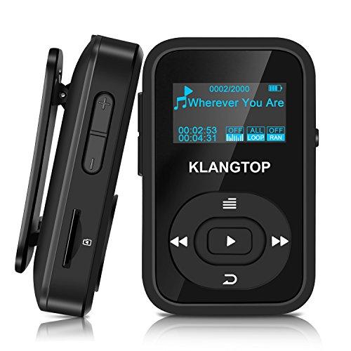 Mini Reproductor MP3 Deportivo con Clip Bluetooth 4.0 KLANGTOP Reproductor de Música de 8G, 30 Horas Reproducción Radio FM Grabación Walkman Pantalla de Color - Negro