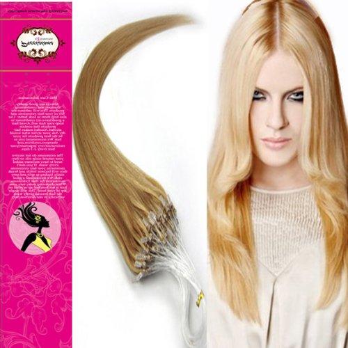 Style 61 cm facile Boucles Micro anneaux perles à pointe 100% naturels Extensions de cheveux humains Cheveux raides Couleur 27 Blond foncé Beauté Motif salon