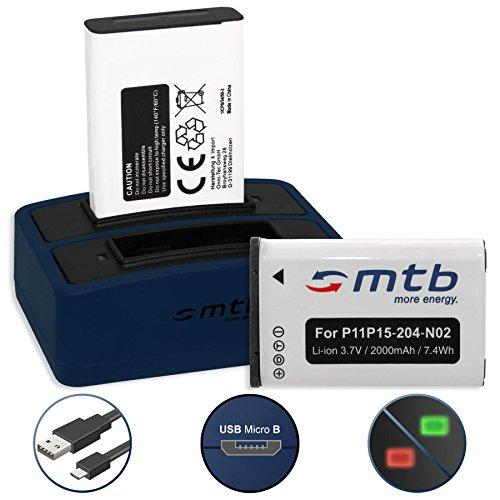 2 Akkus + Dual-Ladegerät (USB) für Garmin VIRB, VIRB Elite | Monterra | Montana 600, 650... - s. Liste! (inkl. Micro-USB-Kabel) Micro-usb-dual-ladegerät