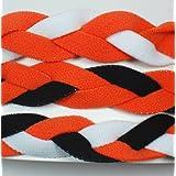 3 PACK Extreme Sports Braided Mini NON SLIP Sports Headband Orange White-Orange Black-Orange Black White