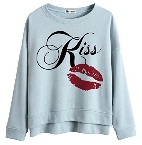 Lips Letters Graphic Batwing Sweatshirt Pullover Tops (Kiss Panda Jumper)