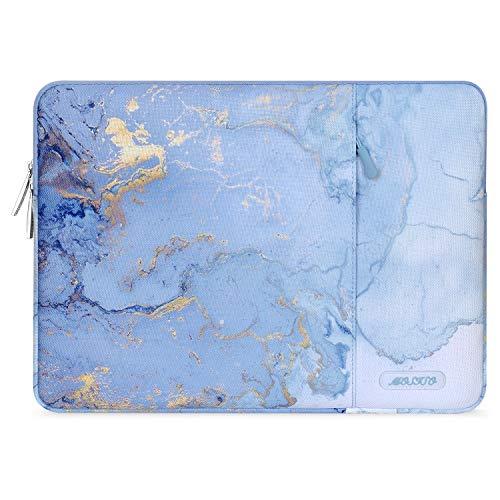 MOSISO Laptop Sleeve Hülle Kompatibel mit 2019 2018 MacBook Air 13 Zoll A1932, 13 Zoll MacBook Pro A2159 A1989 A1706 A1708, Polyester Vertikale Wasserabweisend Laptoptasche, Wasser Blau Marmor