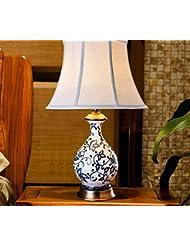 Todo-cobre de cerámica lámpara de cabecera del dormitorio de la lámpara de alta gama de iluminación azul y blanco moderno pintado a mano de la vendimia decorativa (Sin fuente de luz)