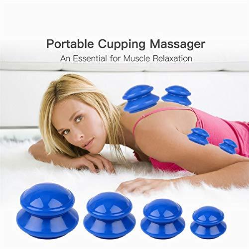 Ventouses Minceur 4pcs,Silicone Massage Tasse,Pour Anti-Cellulite+Draguer le Méridien+ Amincissante+Soulager la Fatigue (A)