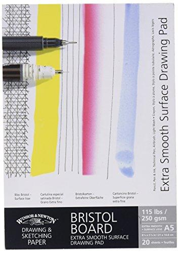 Winsor & Newton 6661541 extra glatter Zeichenblock, 20 Blatt Skizzenblock, kopfgeleimt, 250 g/m², DIN A5 -